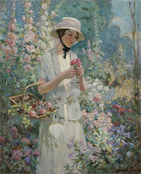 Abbott Fuller Graves - Woman with Flower Basket