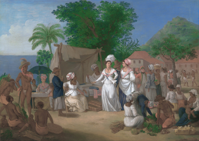 Agostino Brunias - A Linen Market with a Linen-stall and Vegetable Seller in the West Indies