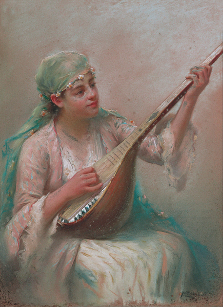 Fausto Zonaro - Woman Playing a String Instrument