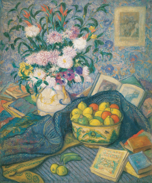 Juan de Echevarría - Vase with Bananas, Lemons and Books