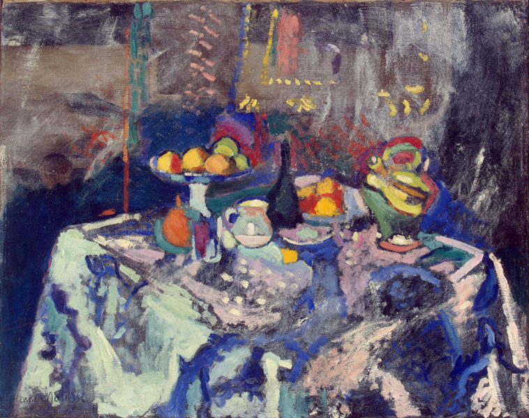 Henri Matisse - Vase, Bottle and Fruit (1906)
