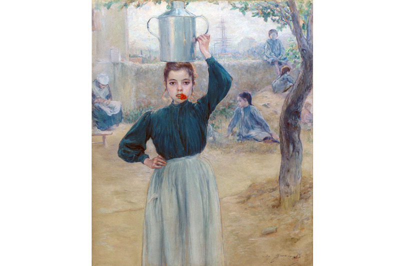 Adolfo Guiard - The Little Village Girl with Red Carnation