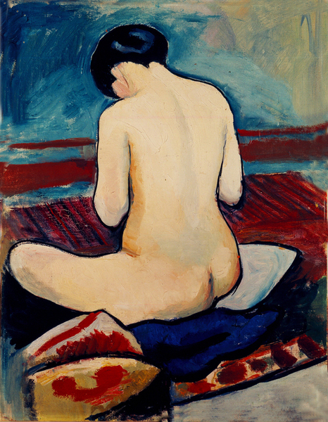 August Macke - Sitting Nude with Pillow
